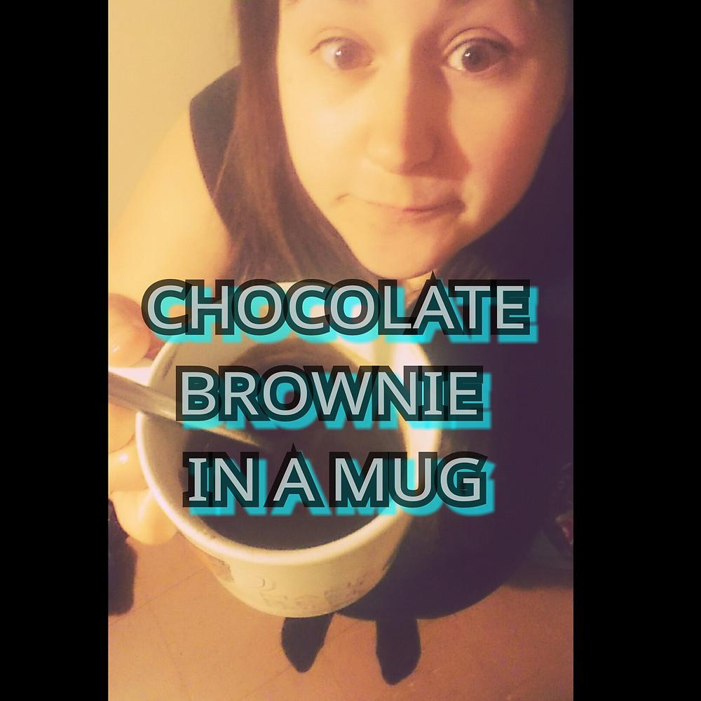 Chocolate brownie in a mug