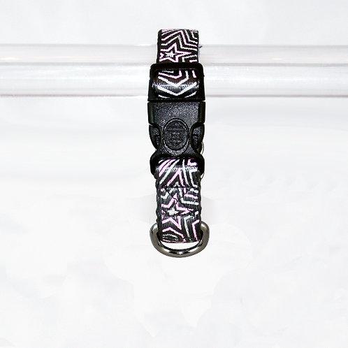 Star Gazer Reflective dog collar - Pink Star on black webbing - Small