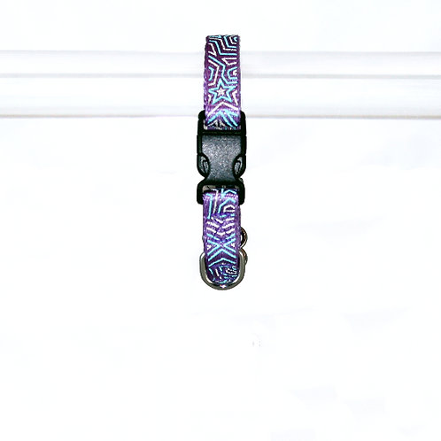 Star Gazer Reflective Dog Collar - Extra-Small, Blue Star on Purple Webbing