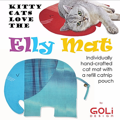 Elly Mat with Refillable Catnip Pouch + .5 oz of locally grown organic catnip
