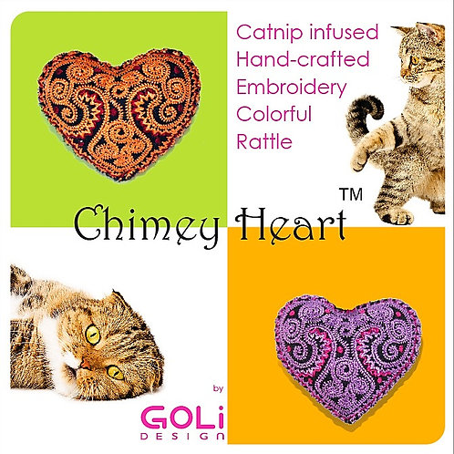 Chimey Heart Catnip Infused Toys