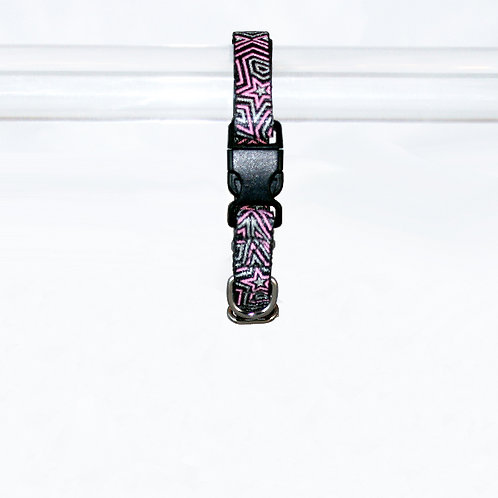 Star Gazer Reflective dog collar - Pink Star on black webbing - Extra Small
