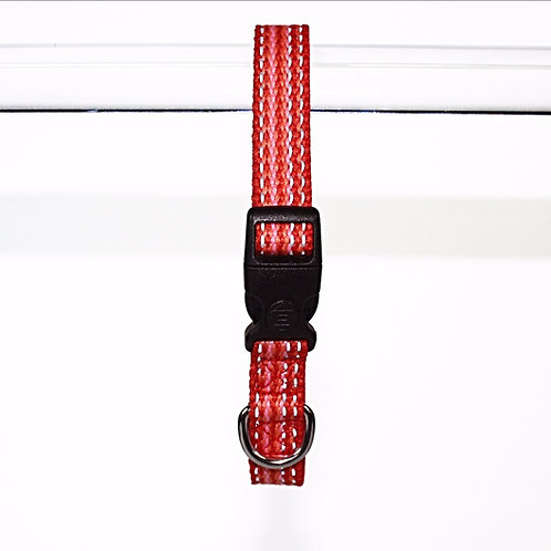 Haight Ashberry Re-purposed & Reflective Dog Collar - Medium Strawberry