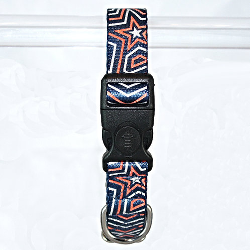 Star Gazer Reflective dog collar - Red Star on navy blue webbing - Large
