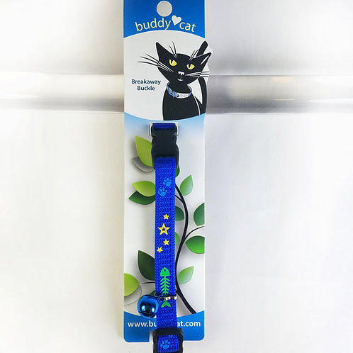 Fishbone, Stars and Paws prints Cat Collar