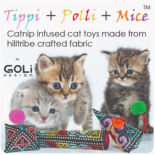Tippi + Polli + Mice catnip infused cat toy collection