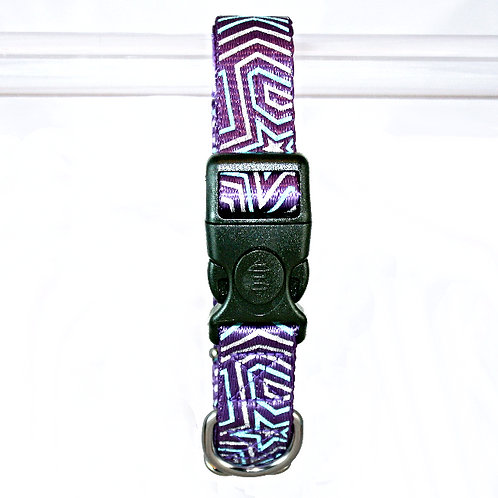 Star Gazer Reflective dog collar - Blue Star on purple webbing - Large