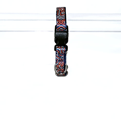Star Gazer Reflective dog collar - Red Star on navy blue webbing - Extra Small