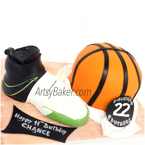 Basket ball and shoe cake