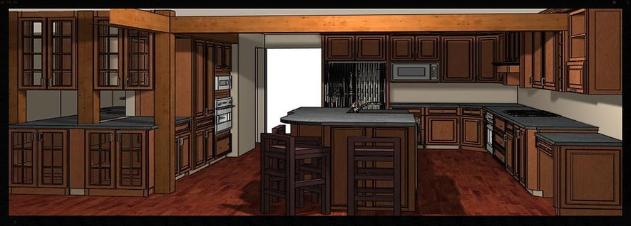 Color Rendering of Kitchen Design with Custom Cabinets