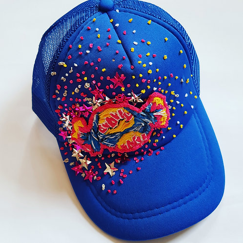 Hand embroidered Bubbly bubble gum blue trucker hat
