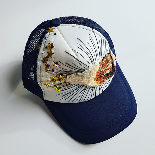 Hand embroidered Cola bottle Navy and white trucker cap