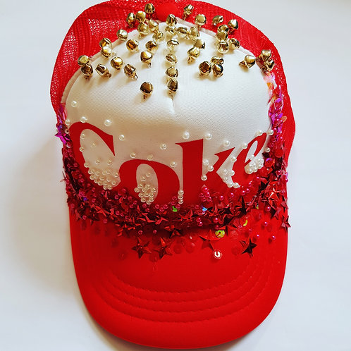 Hand embellished coke trucker cap.