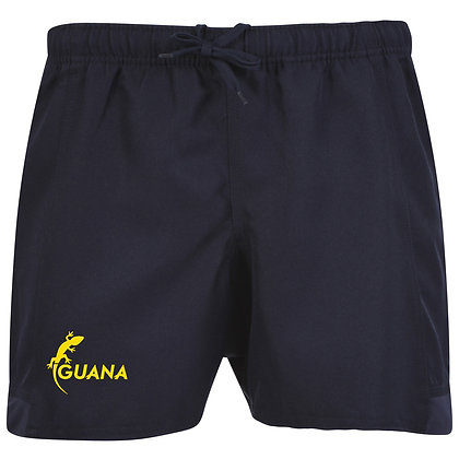 Navy Pro Rugby Shorts with Yellow Brand Logo