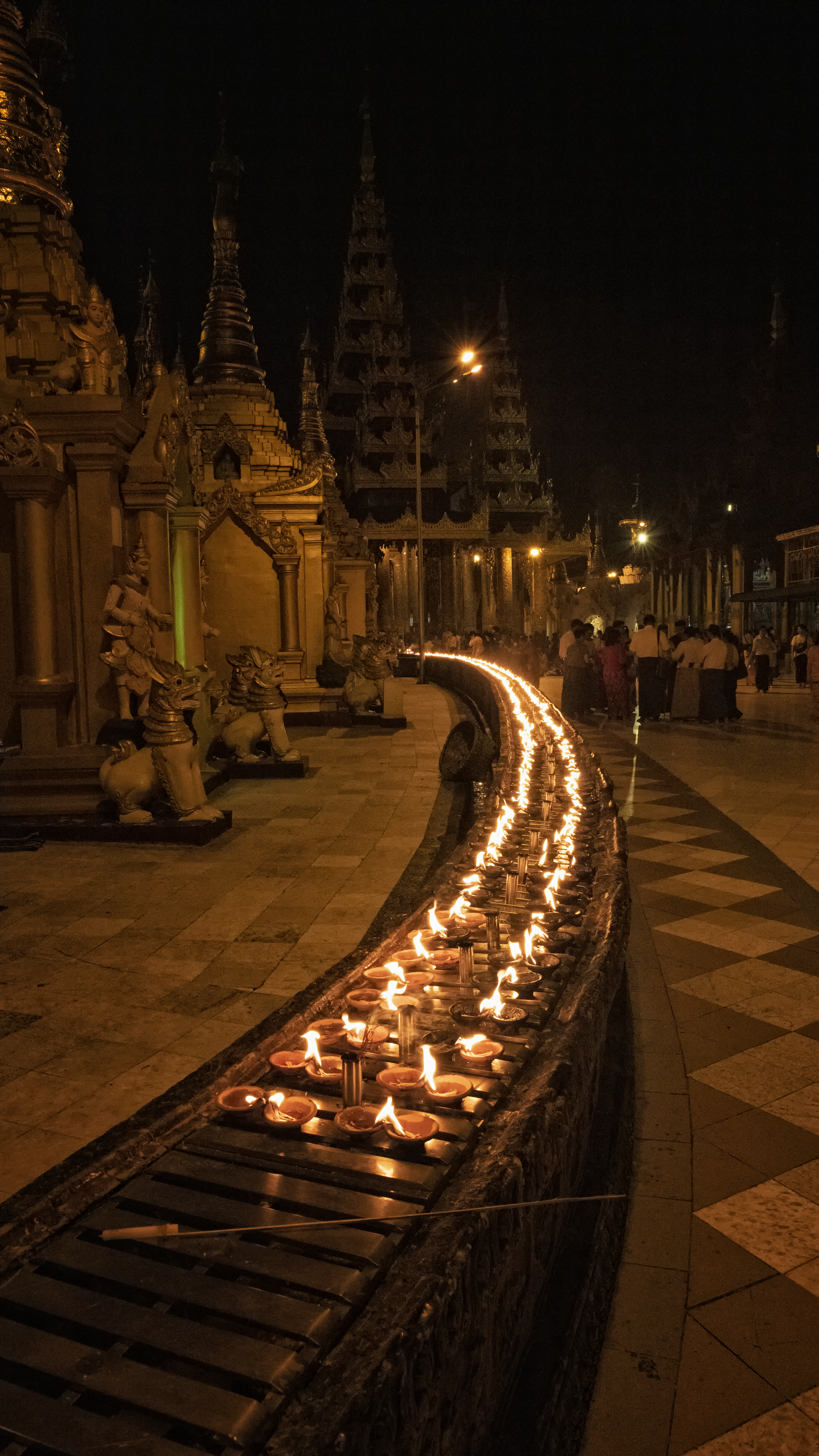 Candles at the Shwedagon Pagoda