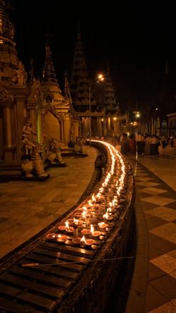 Candles at the Shwedagon Pagoda