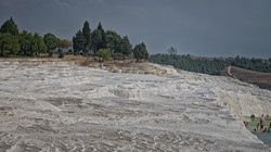 Pamukkale with white lime cascades