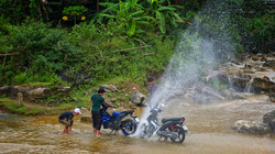 Washing Bikes in Lao Cai