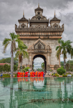 Patuxai with Monks in Vientiane