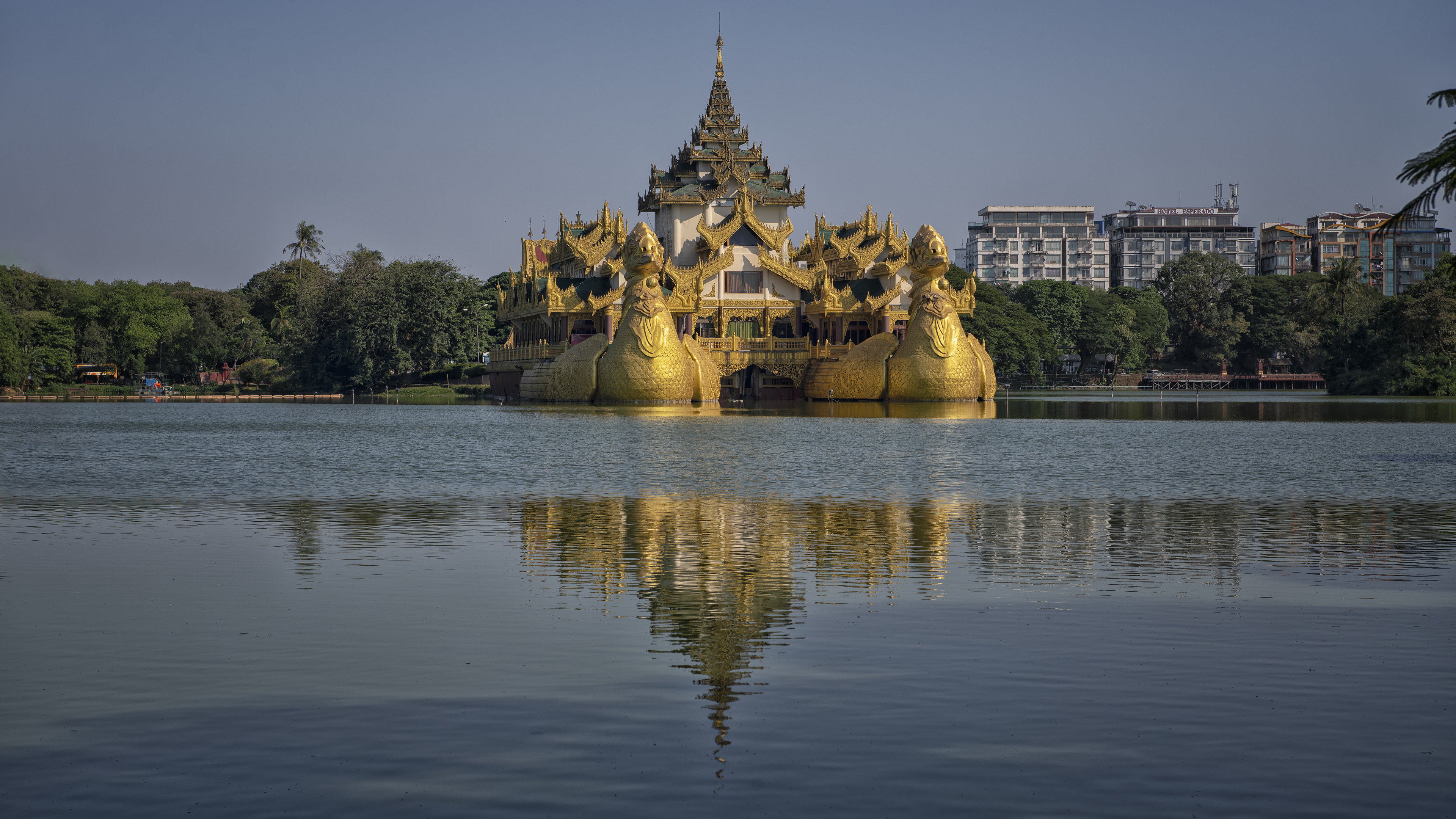 Shwedagon Pagoda on Kandawgyi Lake