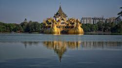 Shwedagon Pagoda on Kandawgyi Lake