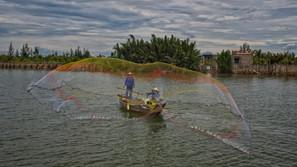 Net Fishing in Hoian, Vietnam
