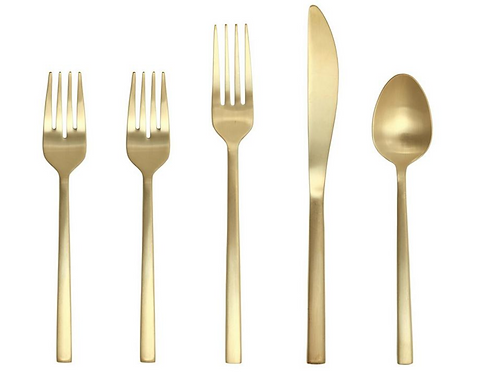 Brushed Gold Flatware (Set of 5 Pieces)