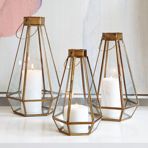 Brass Faceted Lantern