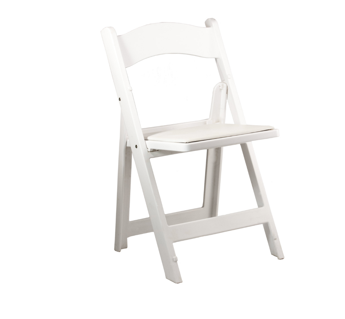 White Padded Ceremony Chairs Chalet View Lodge