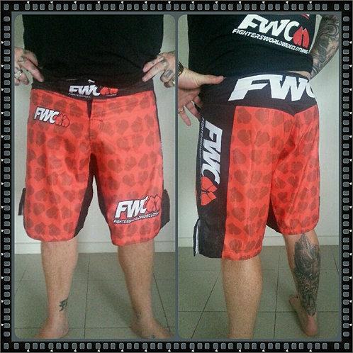MENS RED MMA PRINTED SHORTS
