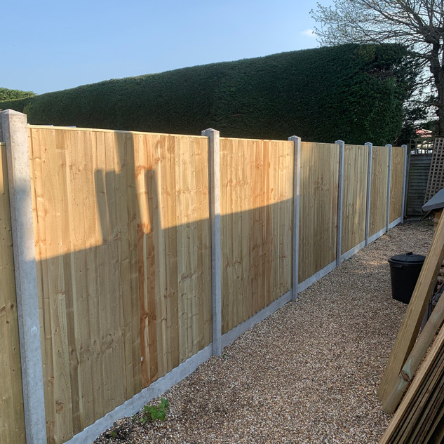 Wooden Panel Fence wirh Concrete Posts and Gravelboards