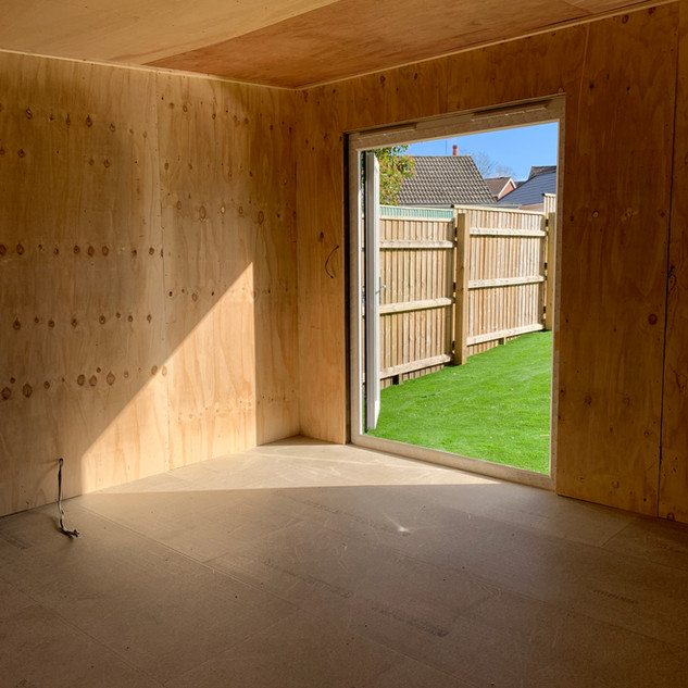 Summer house internal - insulated and ply lined