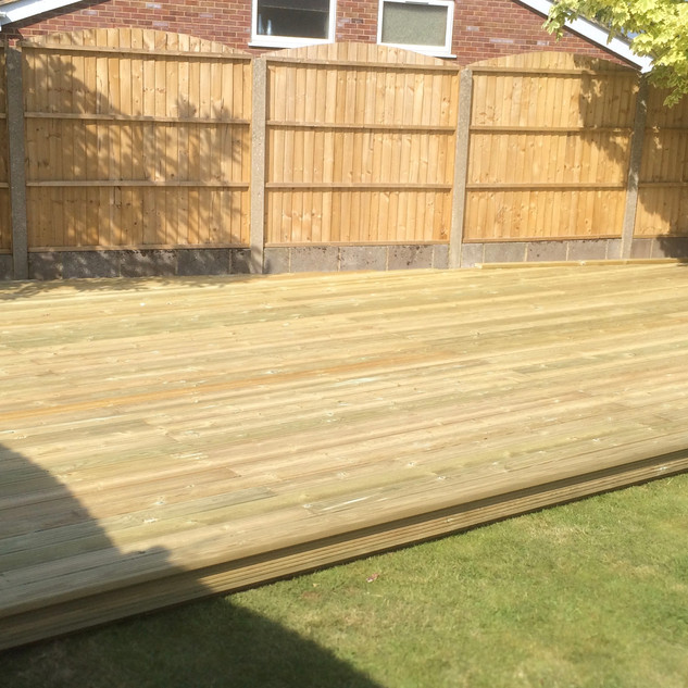 Wooden Decking & Panel Fence