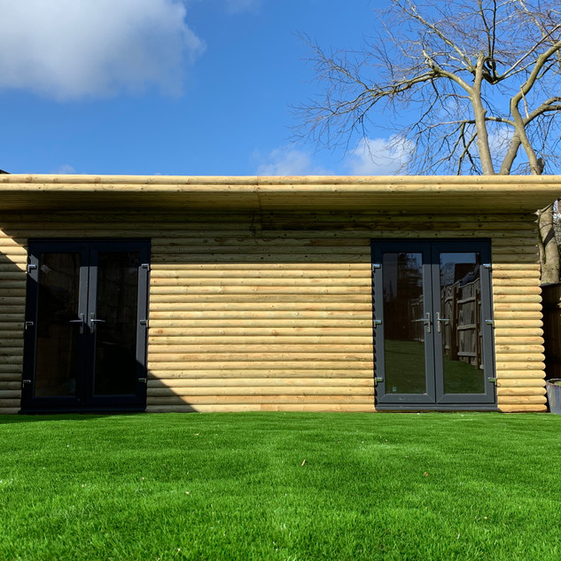 Bespoke log cabin with french doors