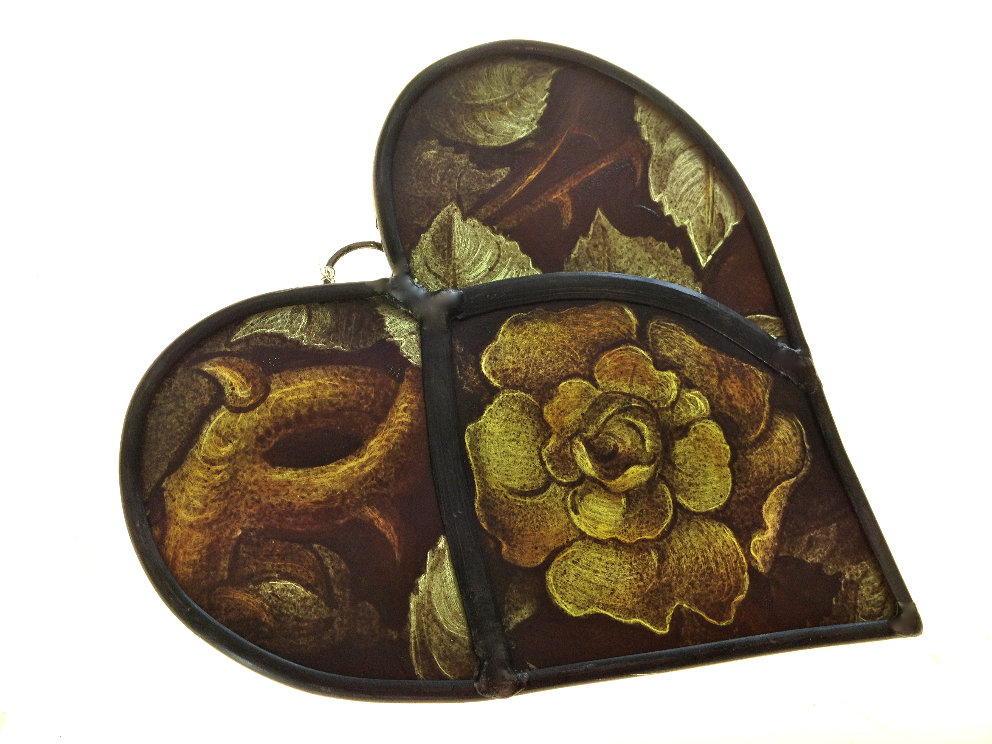 Reclaimed Victorian Glass Heart Hanging