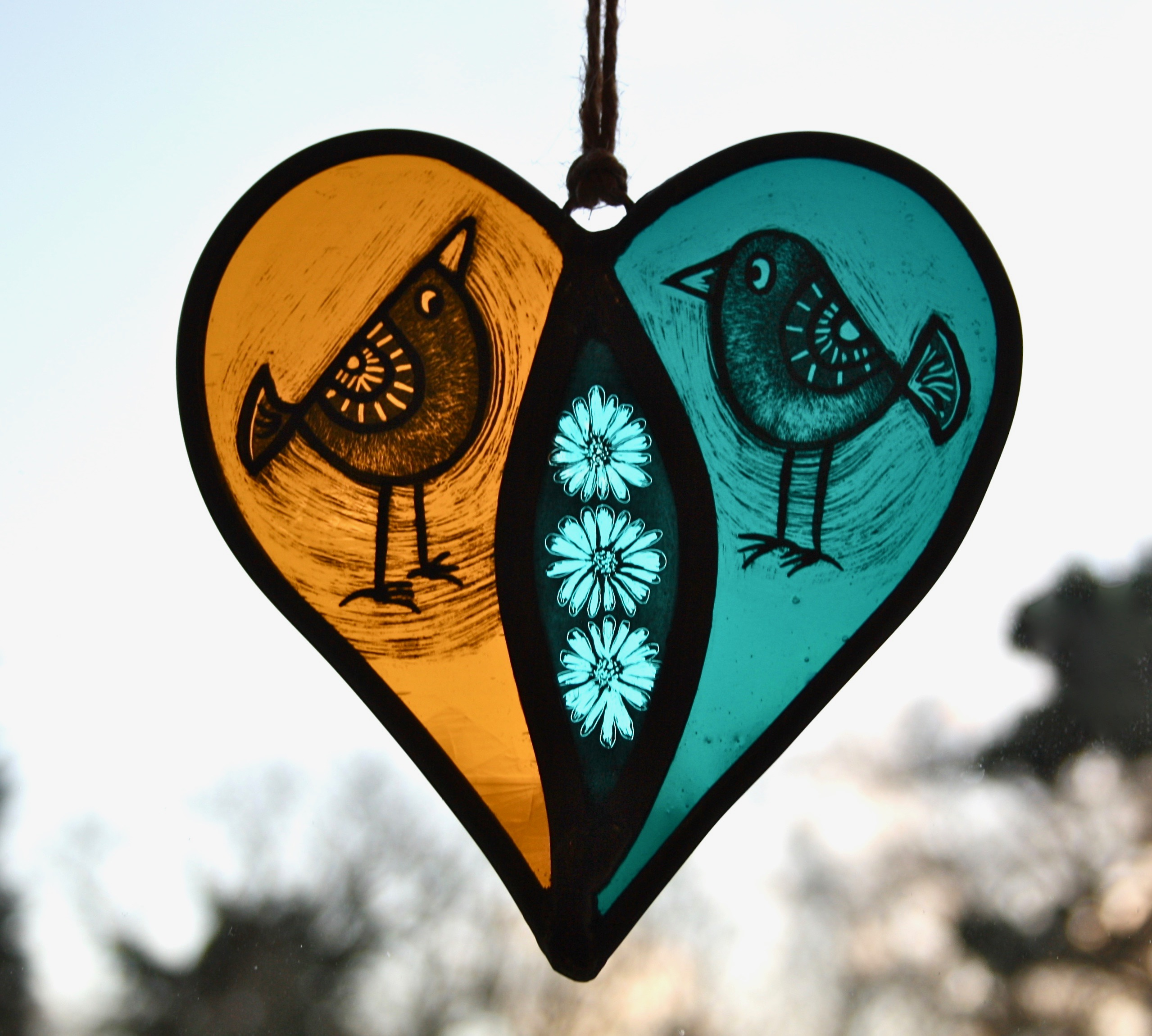 Painted Love Birds Heart Hanging