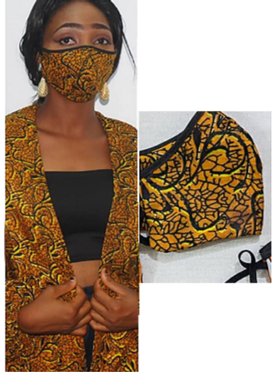 5 Pics African Print Cloth Face Mask Adult