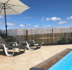 Gedeeld zwembad met ligbedden bij Les Ca