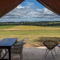Uitzicht safaritent - Les Cabanes de Rou