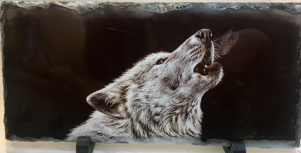 Howling Wolf Slate Plaque
