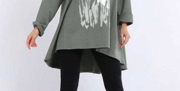Khaki Paint Brush Cotton Tunic
