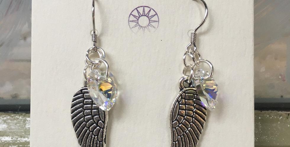 Swarovski Heart & Angel Wings Earrings