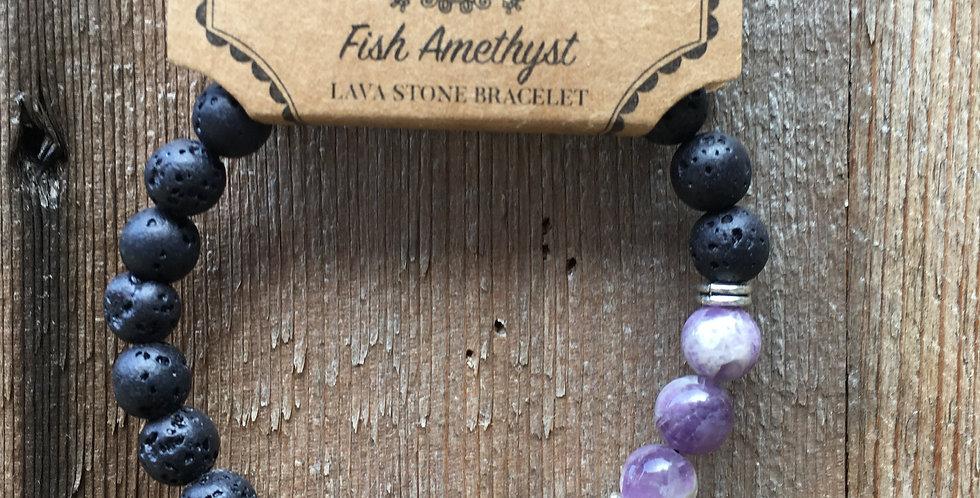 Amethyst & Lava Stone Bracelet
