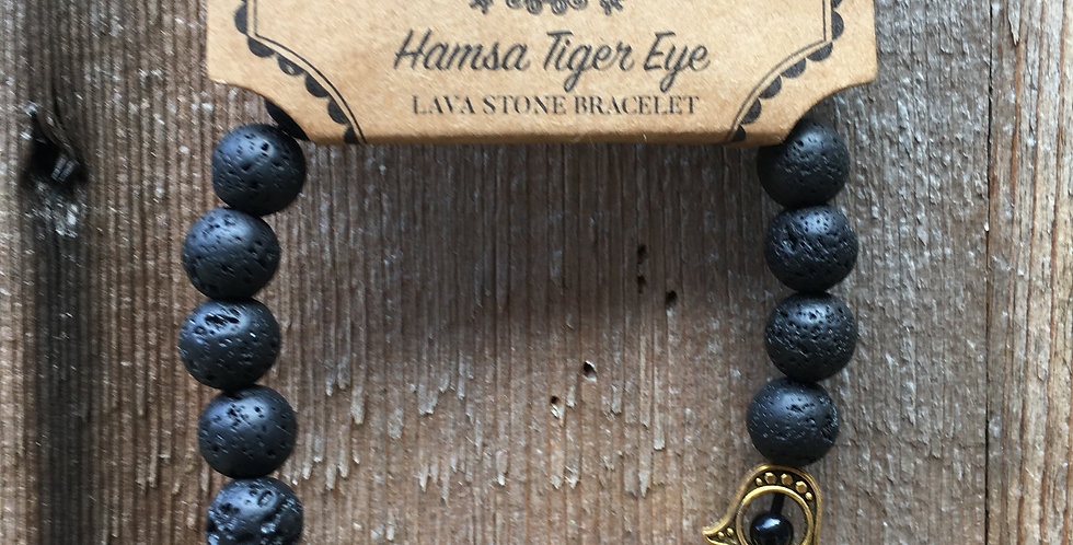 Tiger's Eye & Lava Stone Bracelet