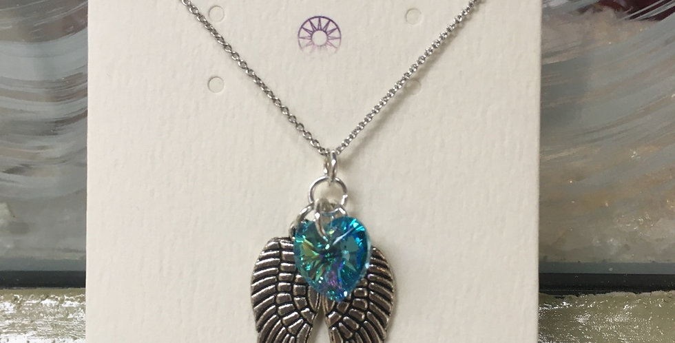 Swarovski Heart & Angel Wings Necklace