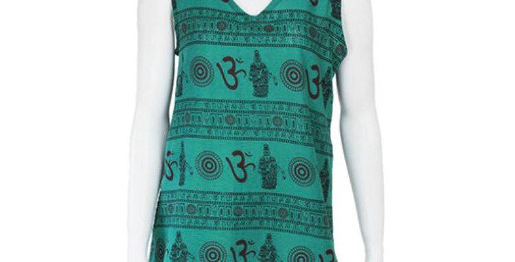 Sleeveless Turquoise Om Top