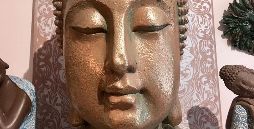 Large Golden Buddha Head Statue