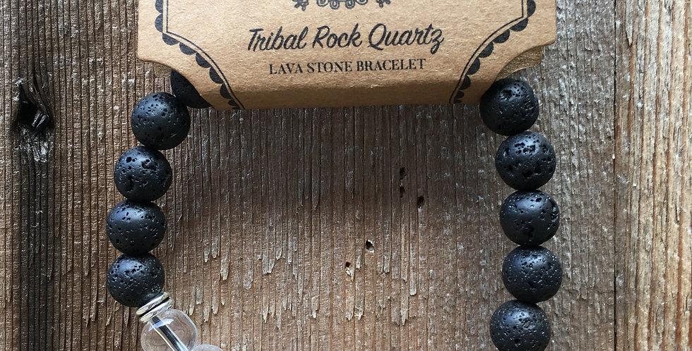 Clear Quartz & Lava Stone Bracelet