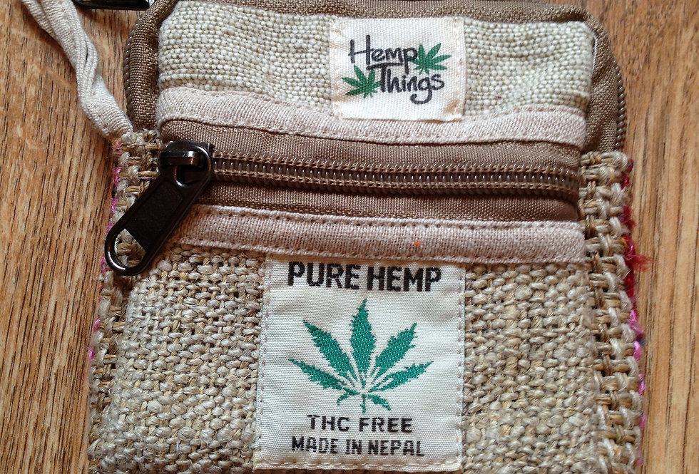 Hemp double zip purse