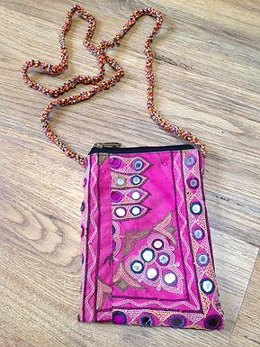 Vintage fabric zip string purse